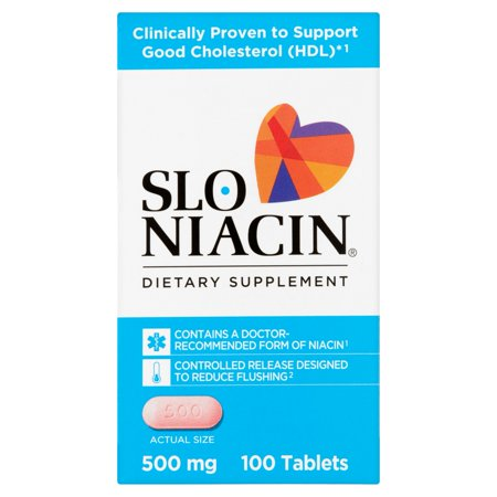 Slo Niacin Dietary Supplement Tablets, 500mg, 100