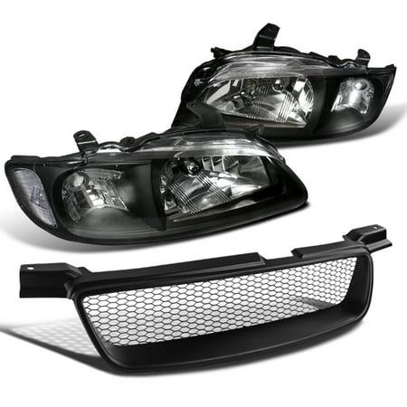 - Spec-D Tuning 2000-2003 Nissan Sentra Jdm Black Crystal Headlights + Mesh Bumper Hood Grille 00 01 02 03