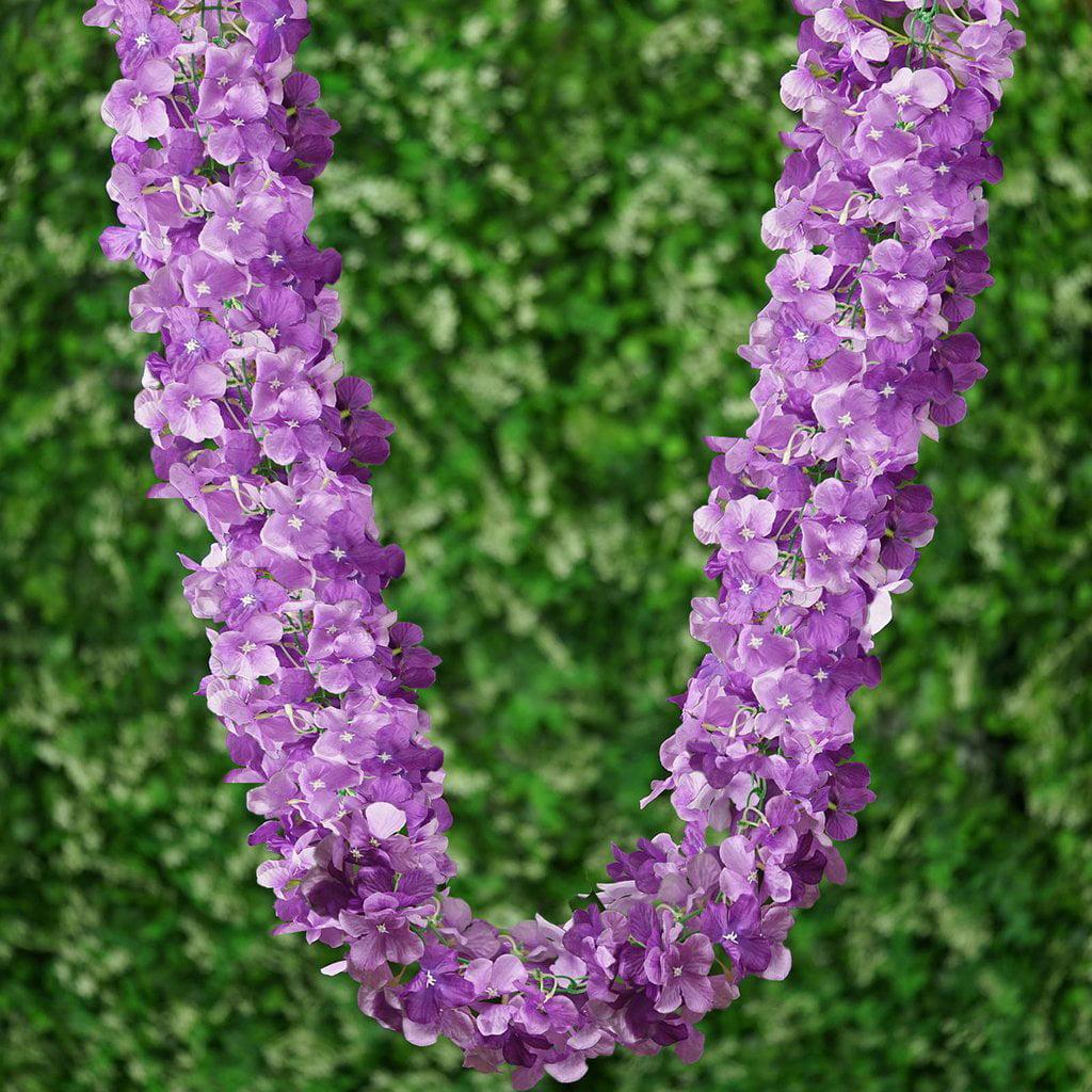 Efavormart 7 FT Purple Silk Hydrangea Artificial Flower Garland Wedding Decorative Flowers for DIY Wedding Bouquets Centerpieces