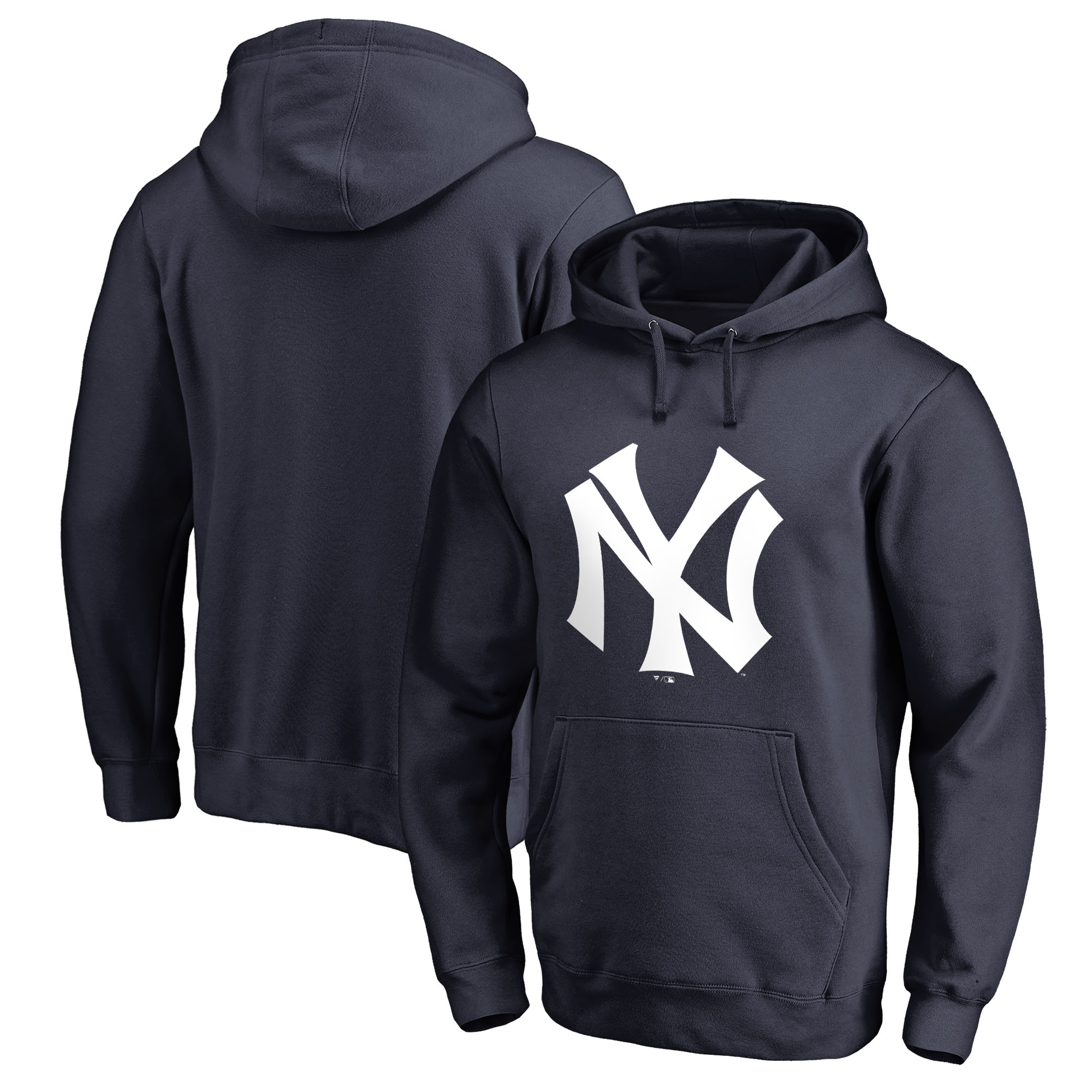 New York Yankees Fanatics Branded Logo Cooperstown Collection Huntington Pullover Hoodie - Navy