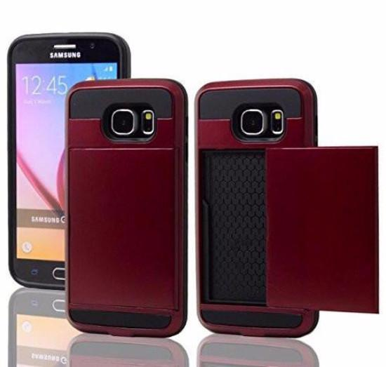 Samsung Galaxy S6 Case, Slim Hybrid Armor w/ Card Slot Case Cover for Galaxy S6 -Red