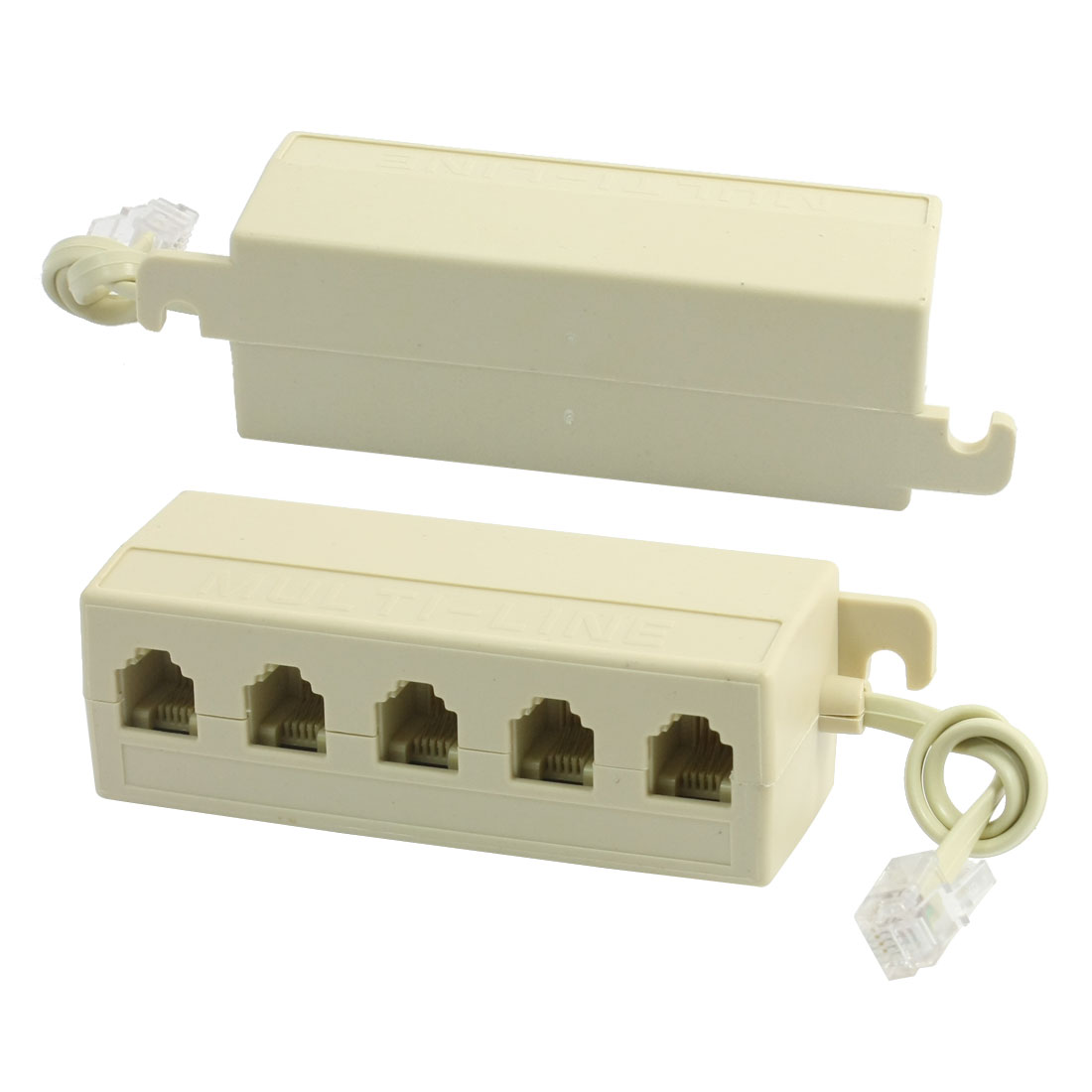 Unique Bargains 2pcs RJ11 6P4C to 6P2C M-5F 5 Way Telephone Line Modular Splitter