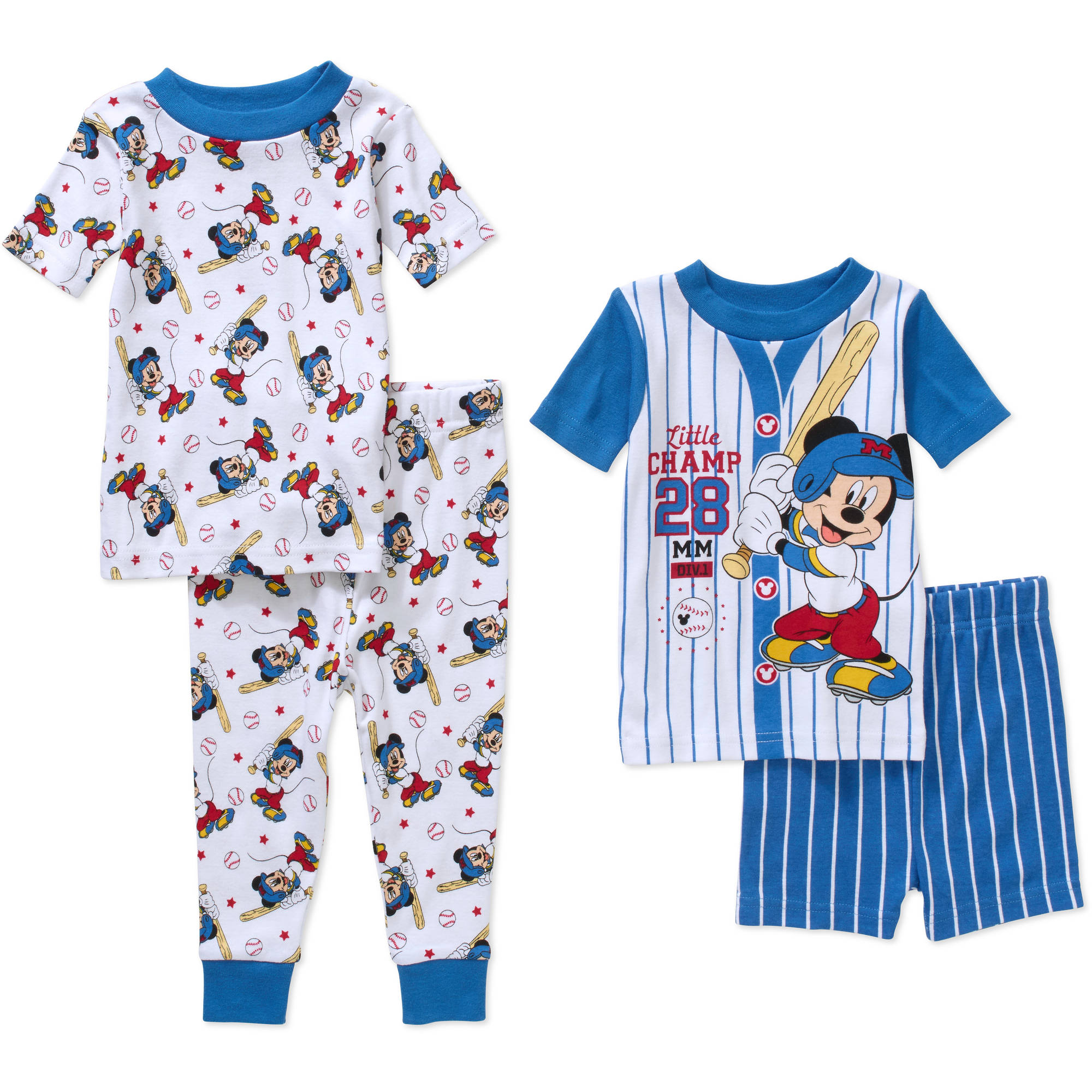 Mickey Mouse Infant Baby Boy' Mix n' Match Short Sleeve Cotton Tight Fit Pajamas, 4-Pieces