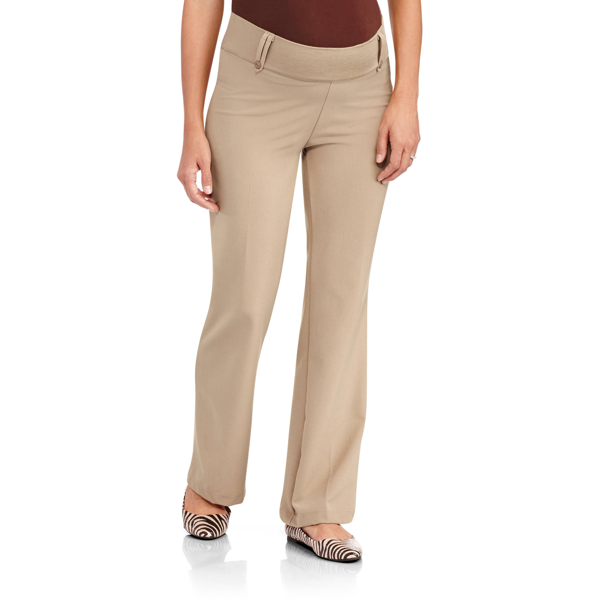 Planet Motherhood Maternity Demi-Panel Career Pants with Belt Loops