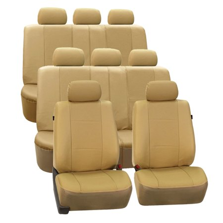 FH Group Beige Deluxe Faux Leather Airbag Compatible and Split Bench Car Seat Covers, 8 Seater 3 Row Full Set