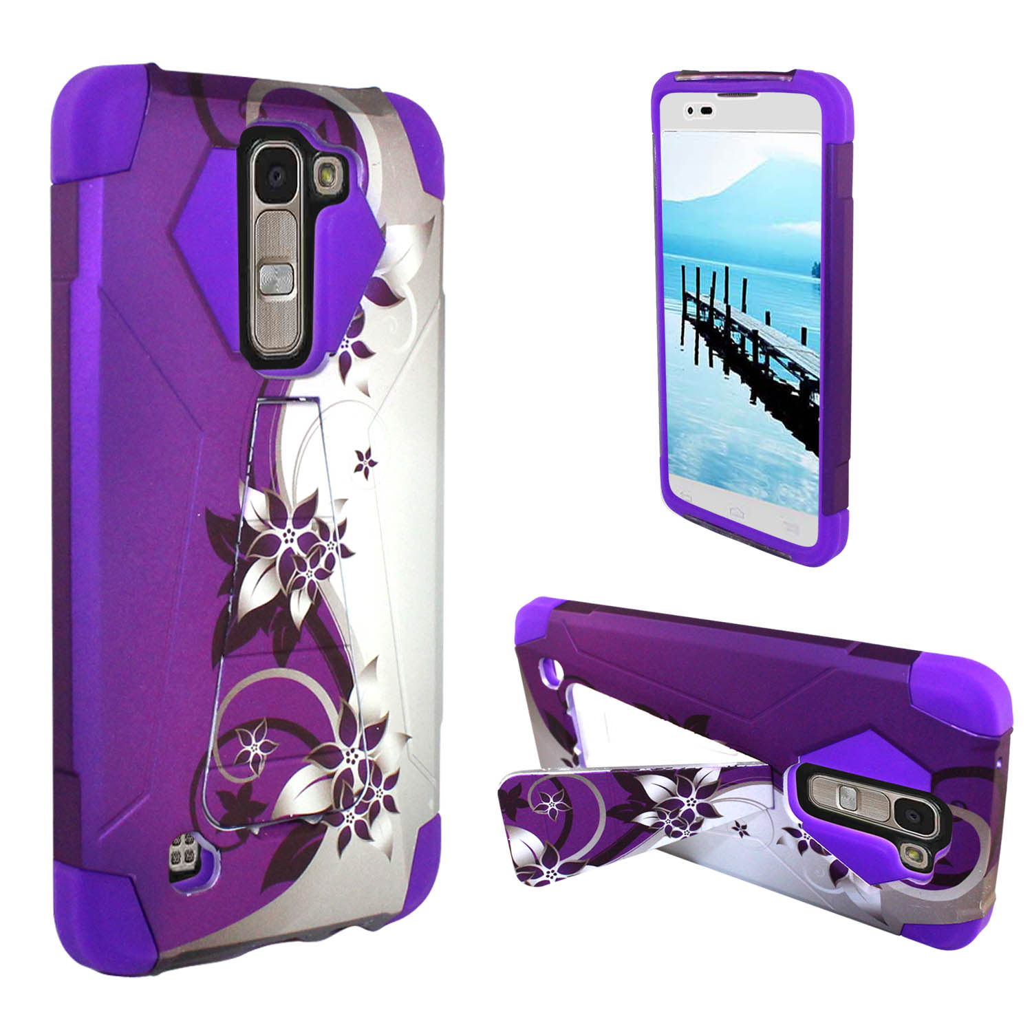 Zizo® Hybrid Turbo Design Case for LG K7 Heavy Duty Dual Layer Rugged Shell Design Protective Phone Cover w/ Kickstand
