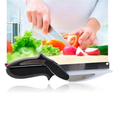 2-In-1 Smart Clever Cutter Knife Cutting Board Stainless Scissors Steel (Best Knife For Cutting Hard Salami)