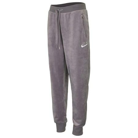 Nike Women's Extended Size Sport Casual Velour Pants-Gunsmoke