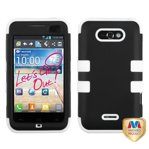 LG MS770 Motion 4G MyBat Tuff Hybrid Protector Case, Rubberized Black/Solid White