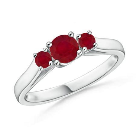 Estate Platinum Ruby - July Birthstone Ring - Classic Round Ruby Three Stone Ring in Platinum (4mm Ruby) - SR0226R-PT-AA-4-7