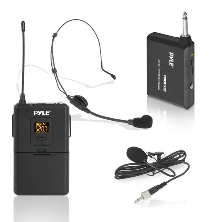 PYLE PDWM12UH - Wireless Microphone System, Beltpack Transmitter with Headset & Lavalier Mics