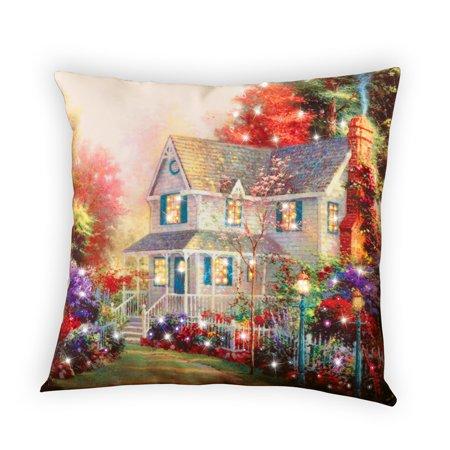 - Fiber Optic Victorian House Accent Throw Pillow