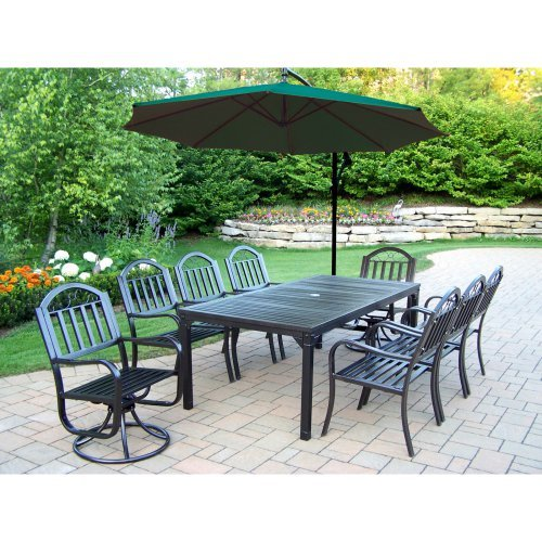 Oakland Living Rochester 80 x 40 in. Patio Dining Set with 2 Swivels and Cantilever Umbrella