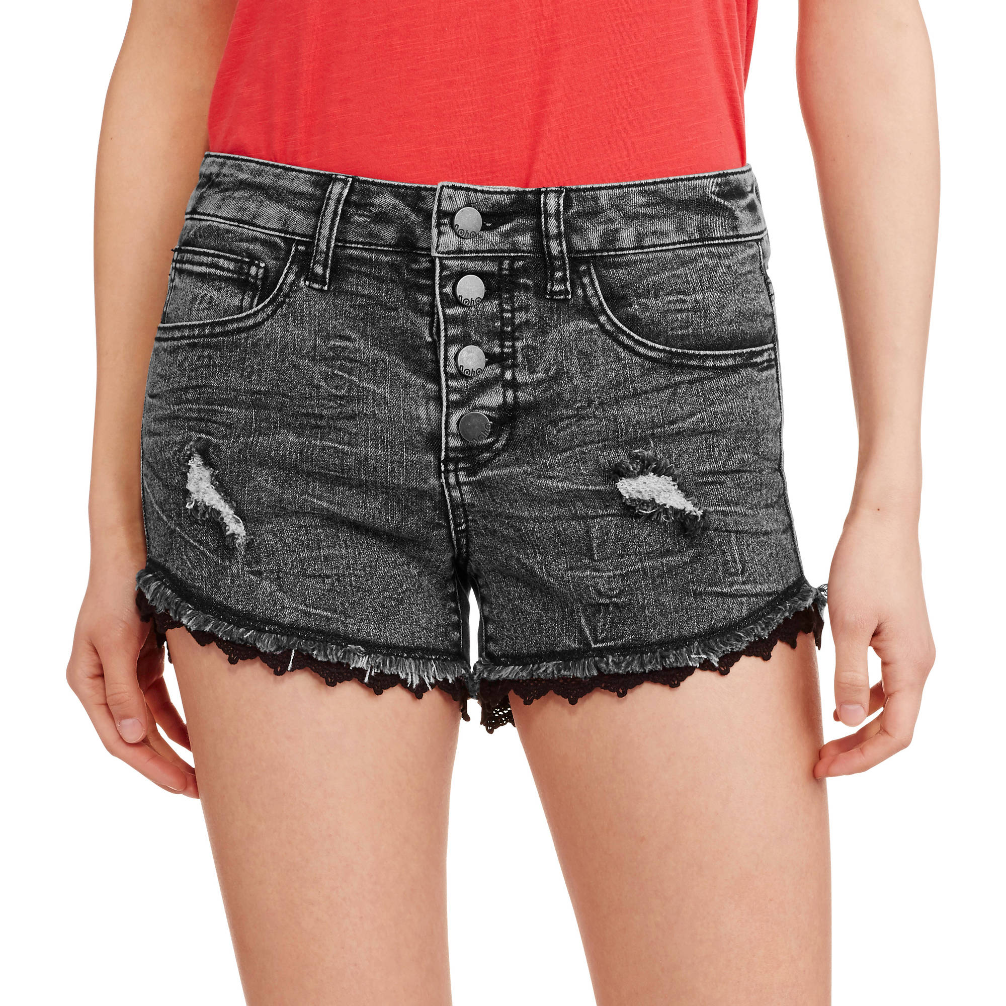 No Boundaries Juniors' Black Denim Shorts with Destruction