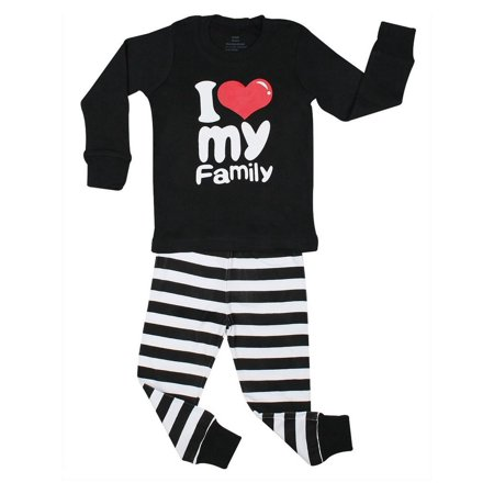 Elowel Unisex Baby Black White Sripe Family Love Cotton 2 Pc Pajama Set - Adams Family Baby