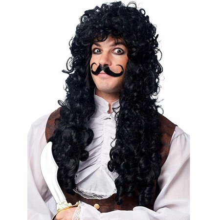 Captain Hook Men's Costume Wig with Moustache - (Men's Horse Lord Warrior Wig)