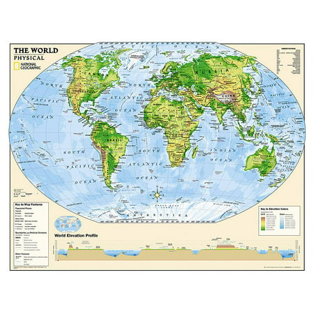 Reference - Education: National Geographic: Kids Physical World Education: Grades 4-12 Wall Map - Laminated (51 X 40 Inches) (Other)