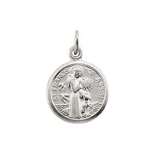 Sterling Silver 10.15x12mm St. Francis of Assisi Medal