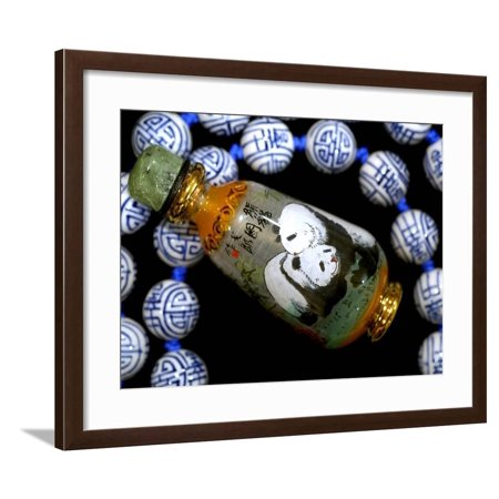 Hand Painted Panda Snuff Bottle, Chinese Bead Necklace, China Framed Print Wall Art By Cindy Miller Hopkins (Inside Hand Painted Snuff Bottle)