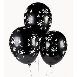 Pack of 25 Skull & Crossbones Pirate Party Favor Balloons-latex, Party Favors By OTC