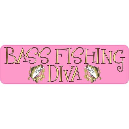 10X3 Bass Fishing Diva Bumper Sticker Vinyl Sports Stickers Vehicle Window Decal (Bass Fishing Decals)