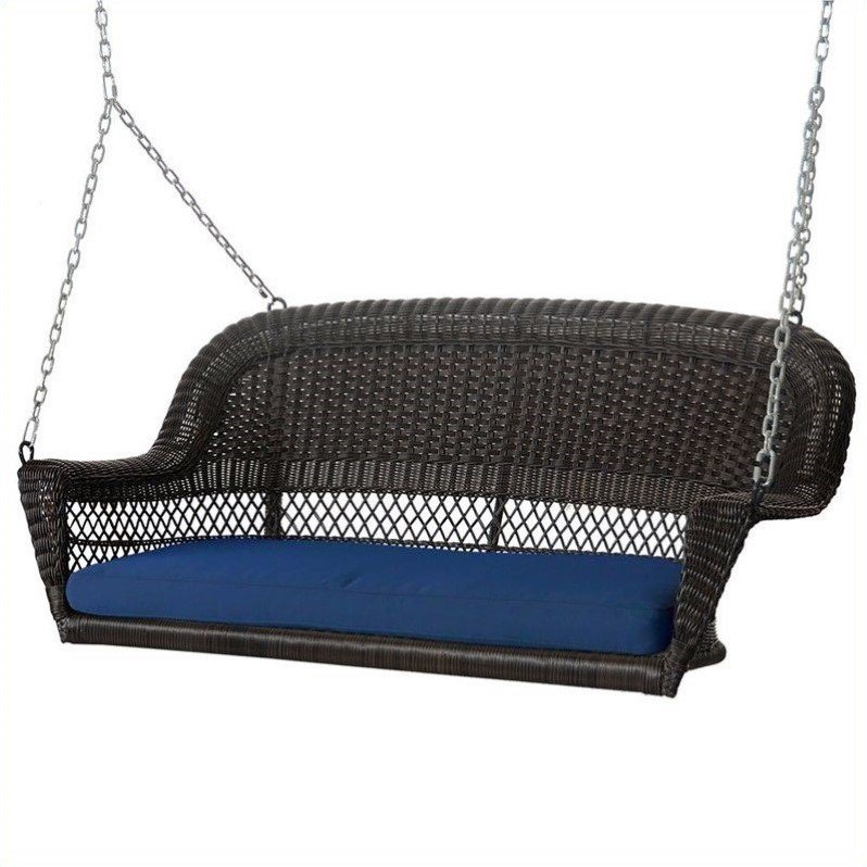 Jeco Wicker Porch Swing in Espresso with Blue Cushion by Jeco Inc.