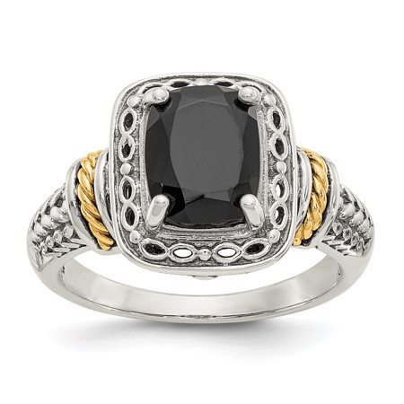Sterling Silver Onyx Ladies Ring (925 Sterling Silver 14k Black Onyx Band Ring Size 7.00 Stone Gemstone For Women Gift)
