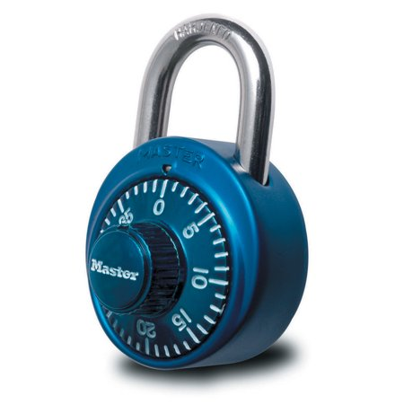 Master Lock Padlock 1530DCM Dial Combination Lock, 1-7/8 in. Wide, Assorted Colors