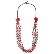 Aeravida Handmade Double Synthetic Coral Flowers and Stone Nuggets Necklace (Thailand)