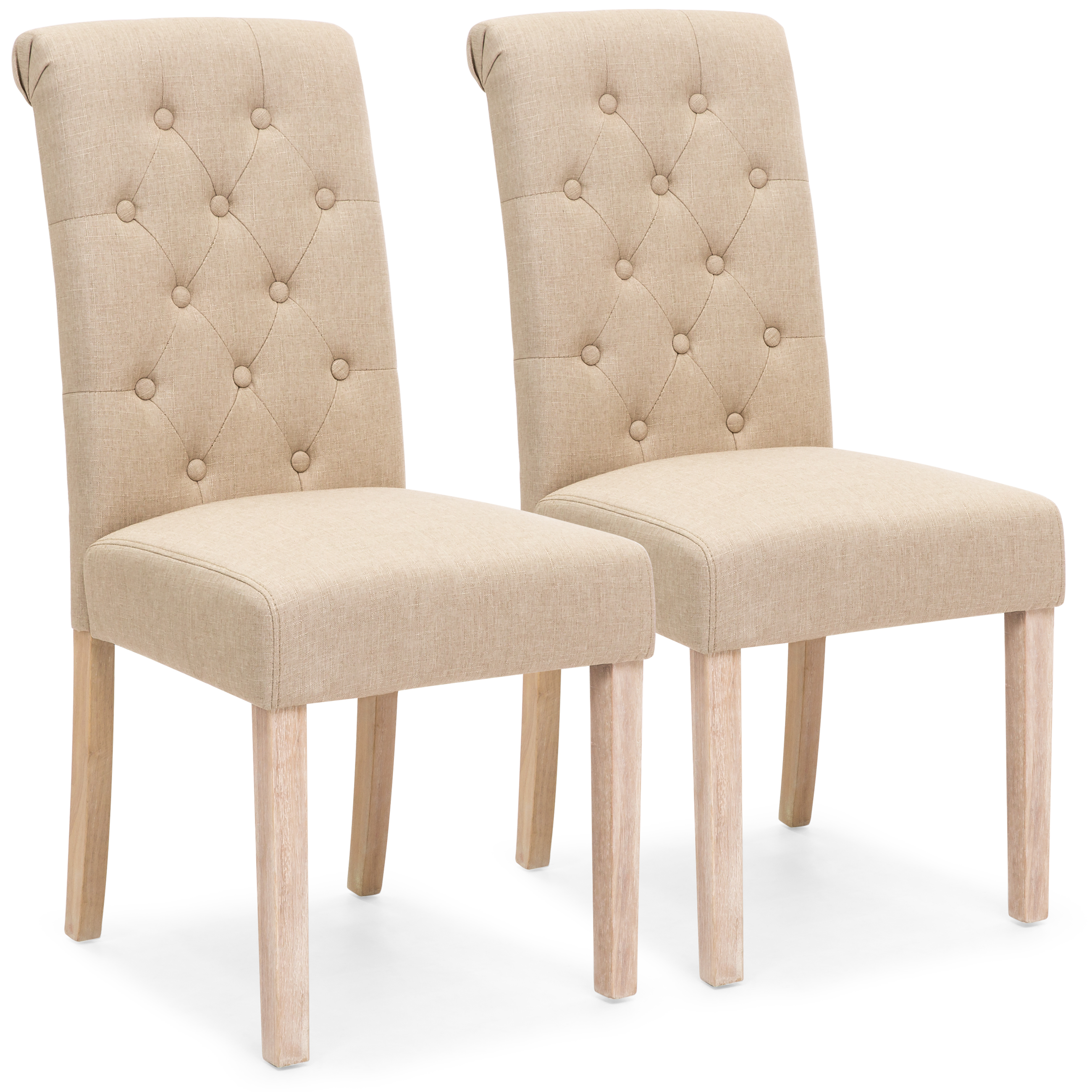 Best Choice Products Set of 2 Tufted High Back Parsons Dining Chairs (Tan)