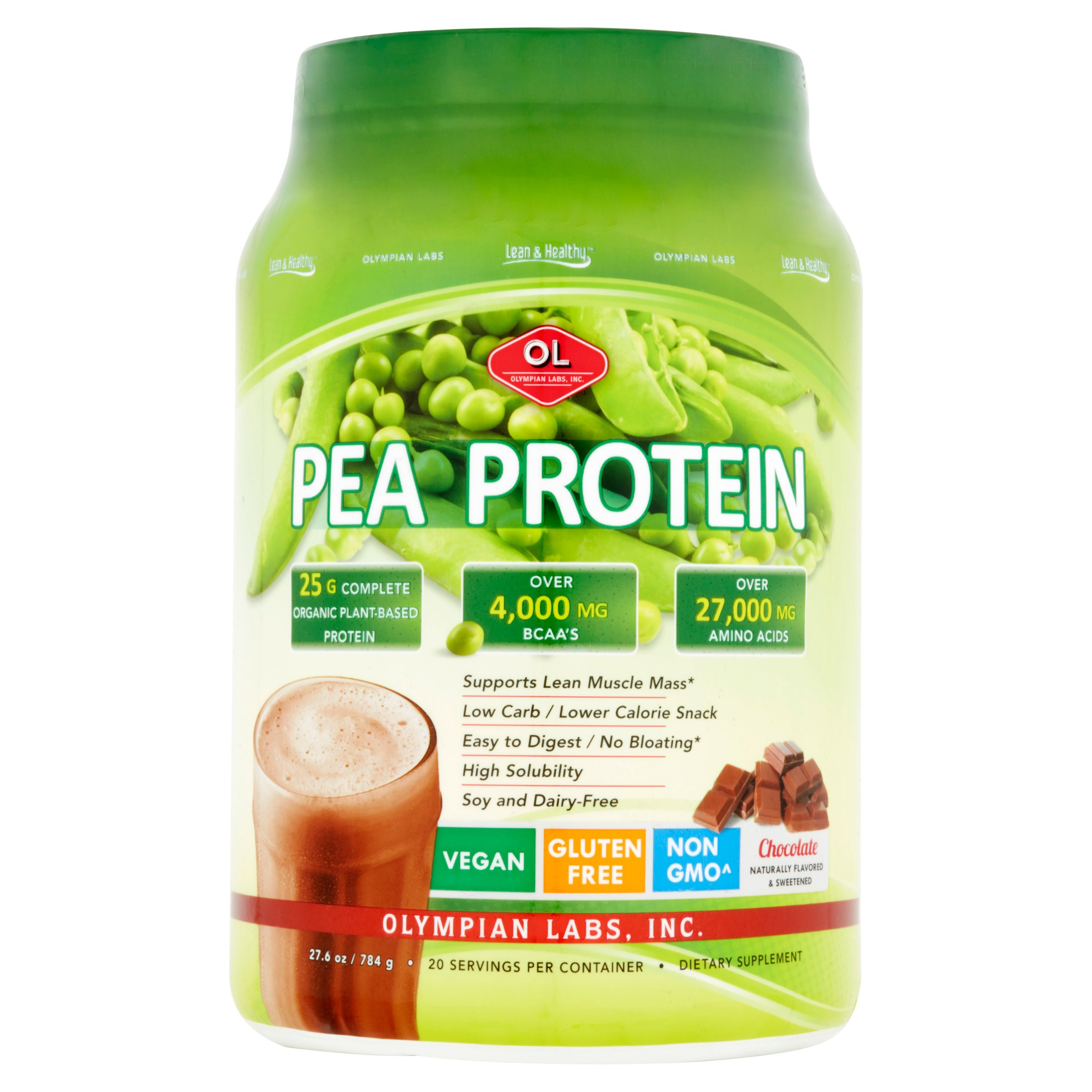 Olympian Labs Pea Protein Powder, Chocolate, 25g Protein, 1.8 Lb