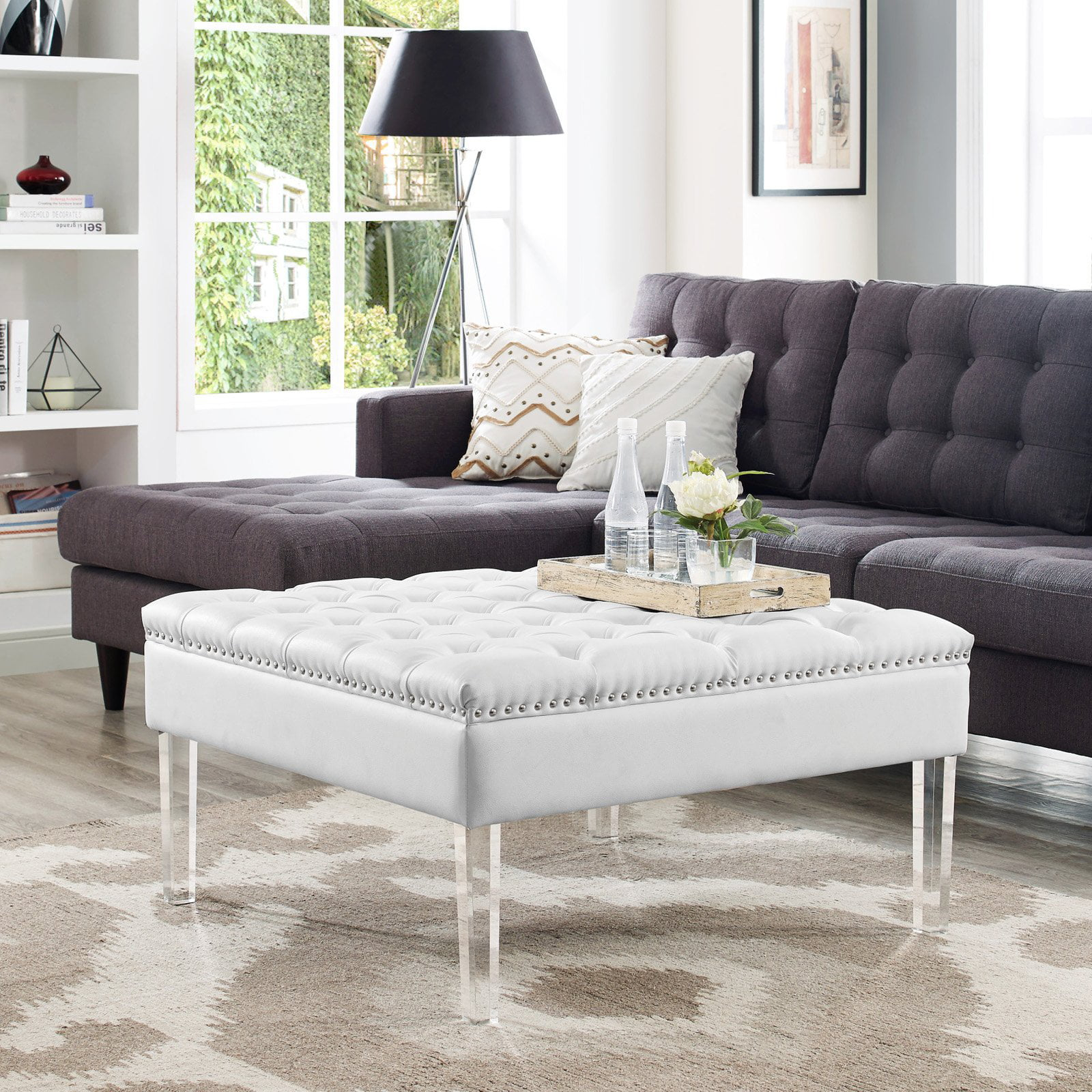 Inspired Home Kayla Square Faux Leather Coffee Table Ottoman