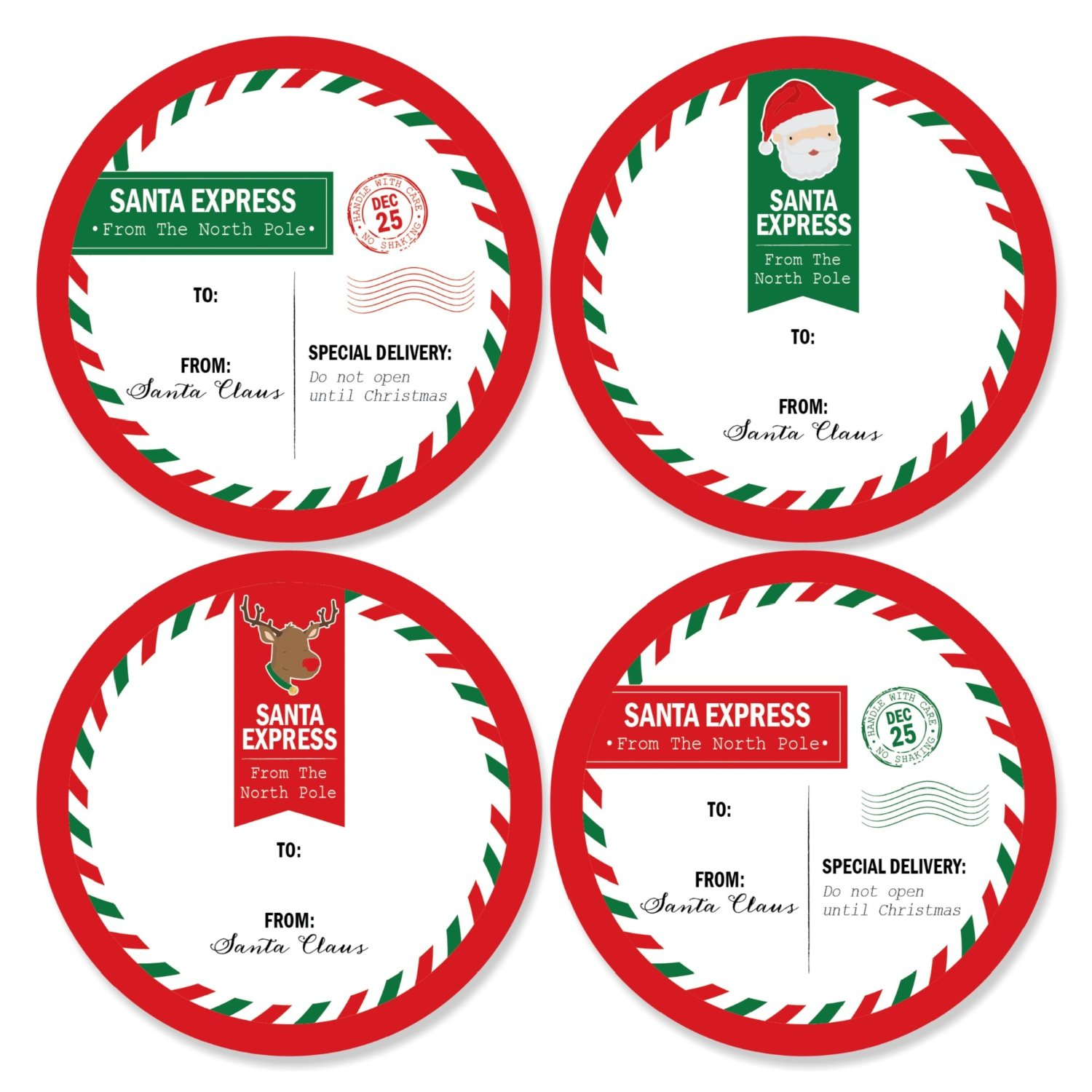 Santa's Special Delivery - Large Christmas From: Santa Stickers Gift Tags - Set of 8