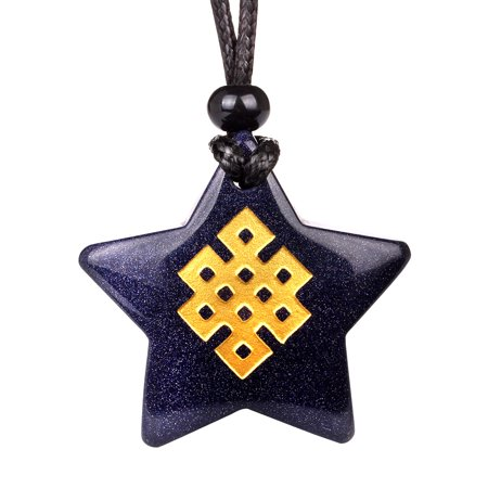 Magical Super Star Tibetan Celtic Shield Knot Amulet Goldstone Lucky Charm Pendant Adjustable Necklace