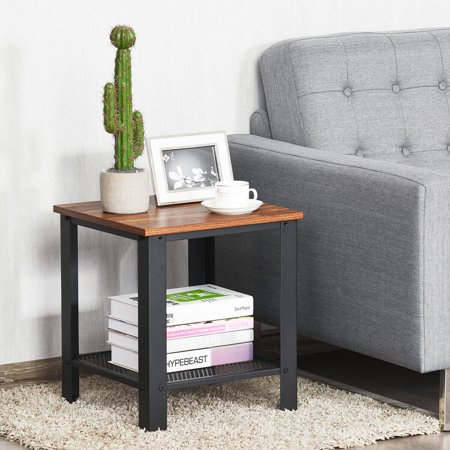 Gymax Industrial End Table 2-Tier Side Table W/Storage Shelf Rustic Sofa Table Black - image 6 of 9