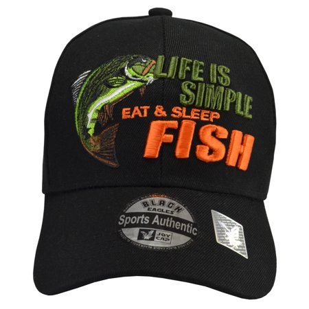 Life is Simple - Fish, Eat & Sleep Black Hat (Dead Fish Hat)