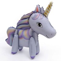 Fancyleo 3D Unicorn Balloons Walking Animal Balloons Aluminum Foil Balloons for Birthday Party Decorations Supplies Wedding Baby Shower Decoration,1 Pack