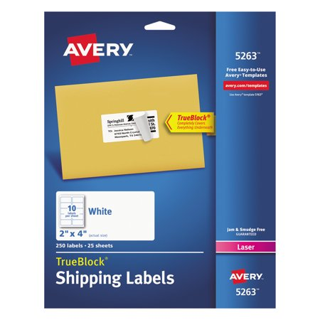 Averyr Shipping Labels With Trueblockr Technology For Laser Printers 5263 2 X 4 Pack Of 250