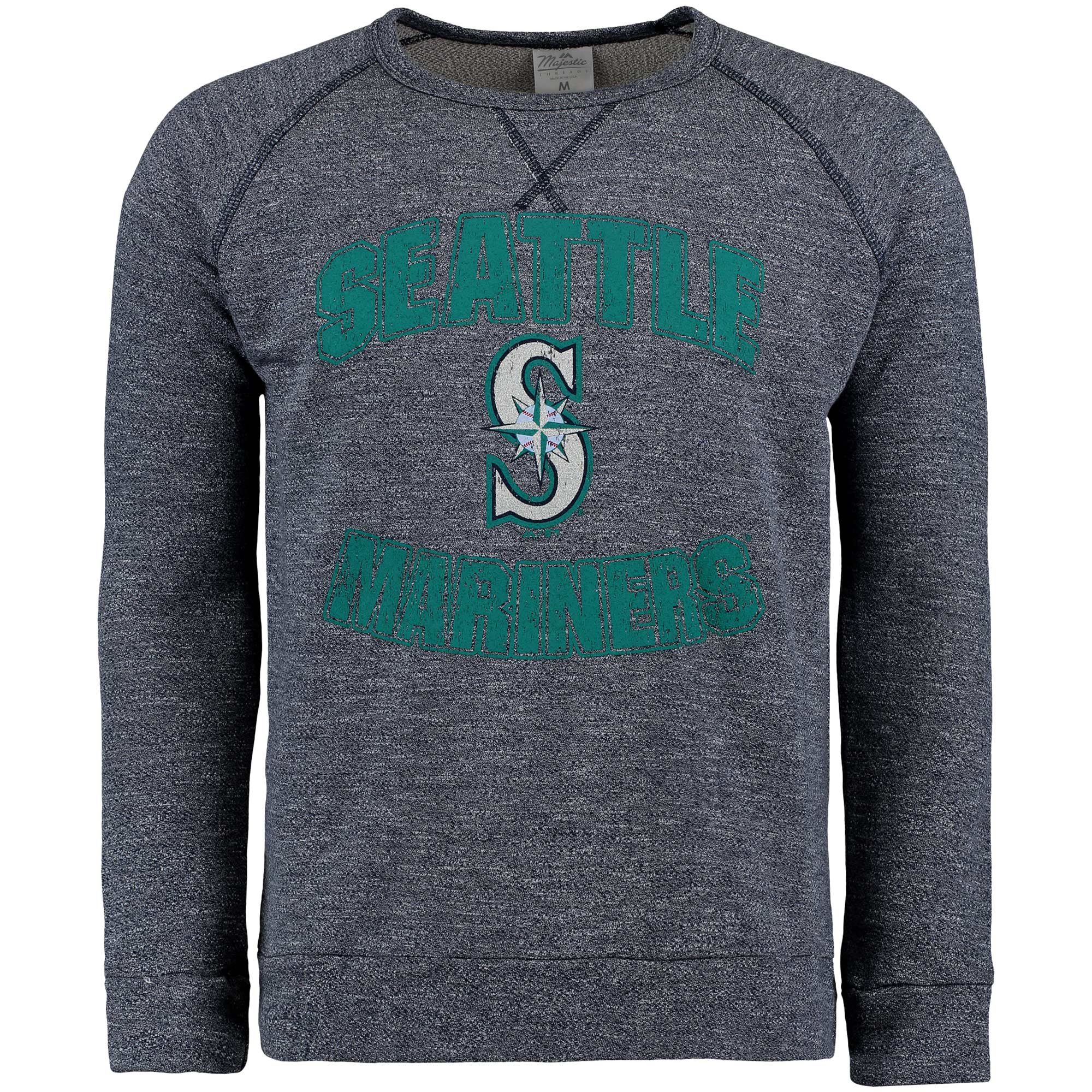Seattle Mariners Majestic Threads Team Favorite French Terry Raglan Sleeve Sweatshirt - Navy