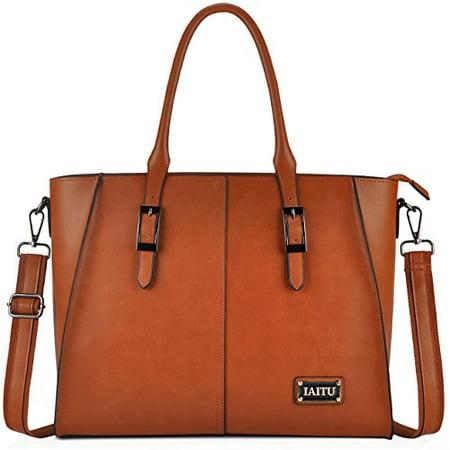 IAITU Laptop Tote Bag,15.6 Inch Crossbody Laptop Bag Casual Work Business Handbag with Smooth Zipper for Women(Brown) Business Casual Handbags