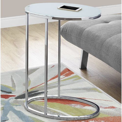 Monarch Accent Table Oval / Chrome / Frosted Tempered Glass