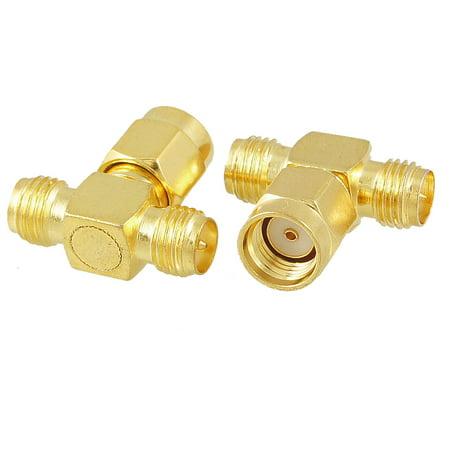 Unique Bargains 2Pcs RP SMA Male to 2 Female Triple T Adapter Connector 3 way