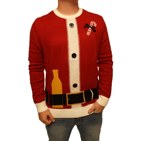 Ugly Christmas Sweater Men's Santa Claus Suit With Buttons Xmas Sweatshirt