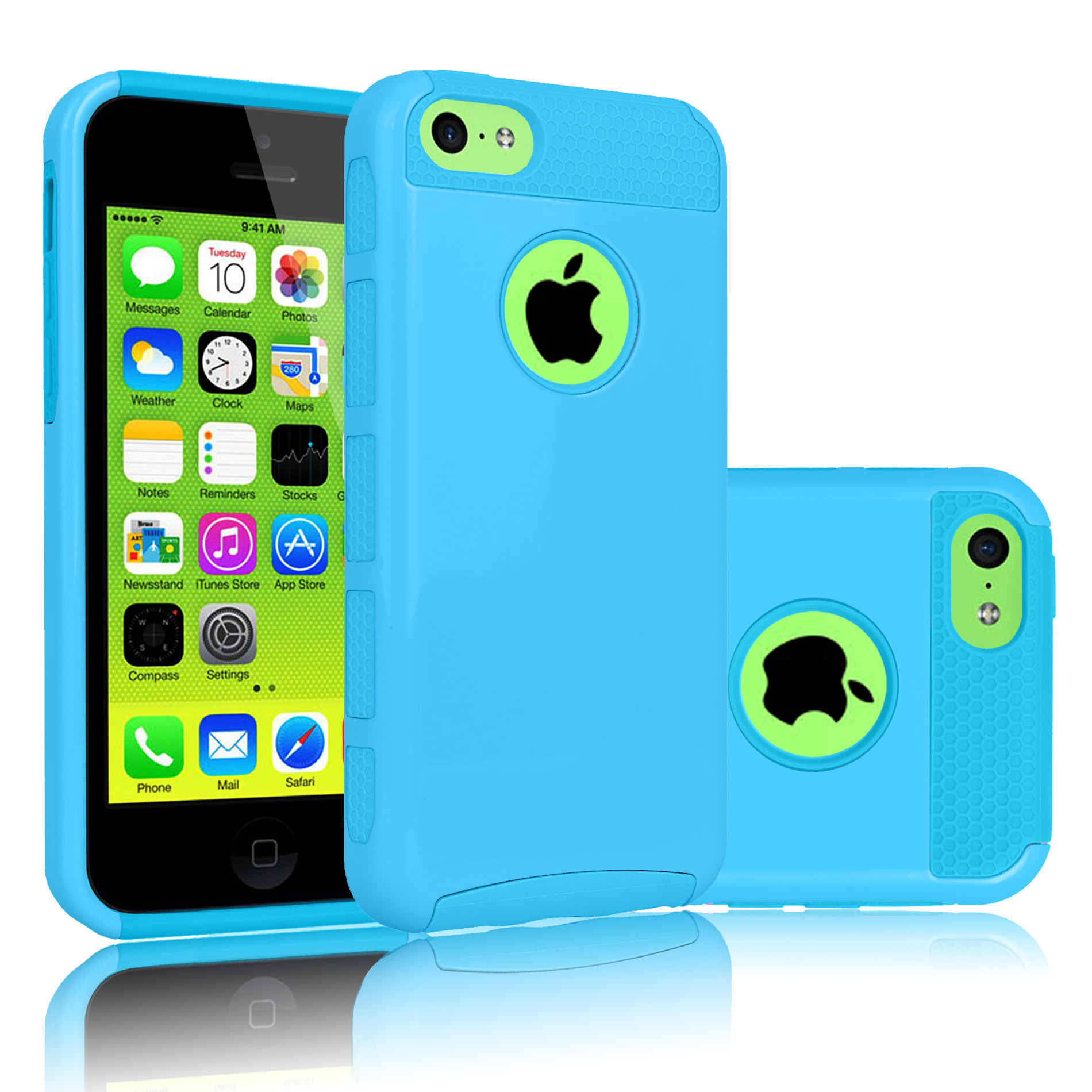 iPhone 5C Case, Tekcoo(TM) [TDuke] Protective Case For Apple iPhone 5C Hard Hybrid Defender Slim Glossy Cover [Scratch Proof] Plastic Shell Outer + TPU Rubber Inner [Sky Blue]