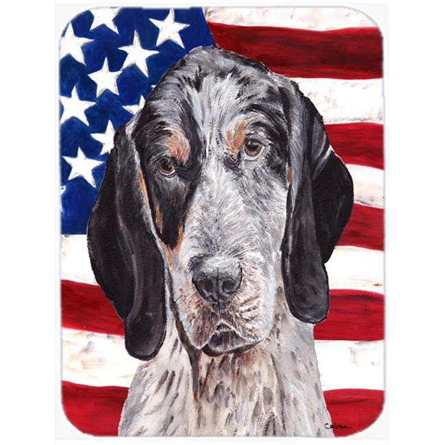 Blue Tick Coonhound With American Flag Usa Mouse Pad, Hot Pad Or Trivet, 7.75 x 9.25 In.