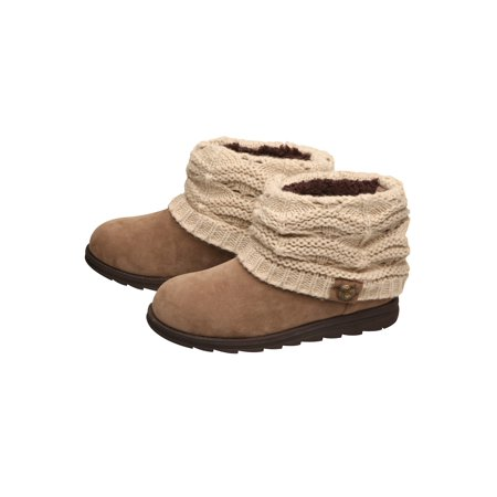 Muk Luks Women's Patti Ankle Boots - Booties with Cable Knit Sweater Cuffs (Cheap Sweater Boots For Women)