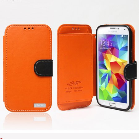 Nodea Orange  Black Samsung Galaxy S5 Secret Diary Series Wallet Case Hard Case  Tpu  Faux Leather  Credit Card Slots  Stand Function