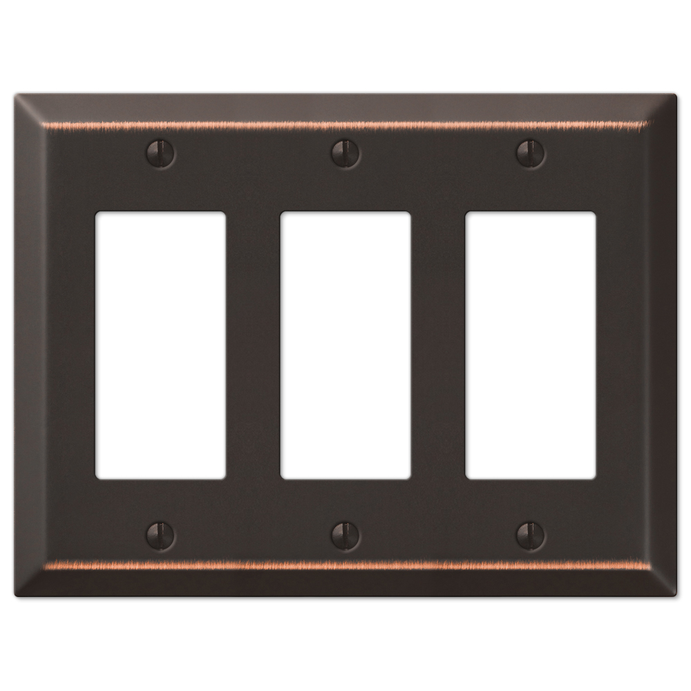 Three GFCI Rocker Wall Switch Plate - Oil Rubbed Bronze