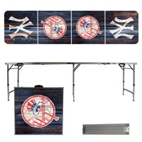 New York Yankees Weathered Design 8' Portable Folding Tailgate Table