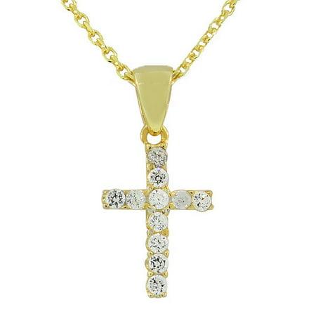 Amber Silver Cross Pendant (925 Sterling Silver Religious Cross White CZ Pendant)